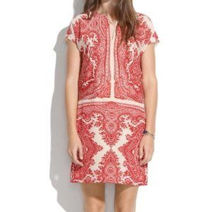 Madewell Silk Red Paisley Shift Dress